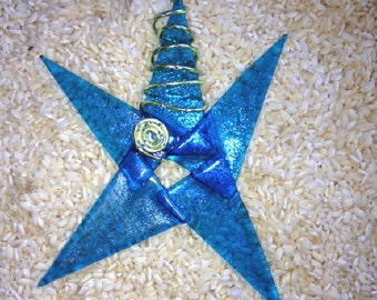 Turquoise Irid  Fused Glass Star Ornament
