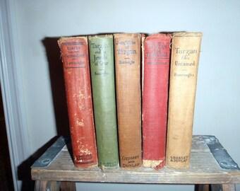 Tarzan books, set of five, 1918 - 1923, antique book display copies