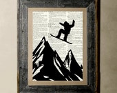 Buy 1 get 1 Free - Sonwboarding( Version 2 ) - Printed on a Vintage Dictionary, 8X10, dictionary art, paper art, illustration art, collage