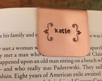 BOOKMARK CUSTOM- Hand Stamped Metal - personalized