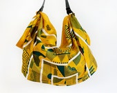 Maze furoshiki bag (mustard) & black leather carry strap set