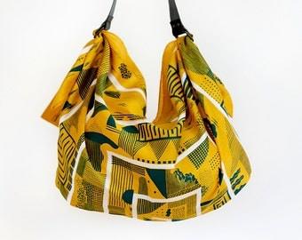 Maze furoshiki bag (mustard) & black leather carry strap set