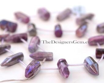 Rough Cut Purple Pink Coated Crystal Quartz Top Drilled Briolette Sticks 19 x 6mm to 26 x 10mm -1/2 Strand