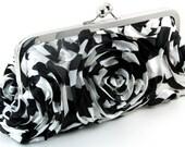 Black and White Clutch Evening Bag  -  Flower Purse - Women's Handmade Floral Metal Frame Purses