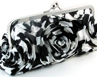 Black and White Clutch Evening Bag  -  Flower Purse - Women's Handmade Floral Metal Frame Purses