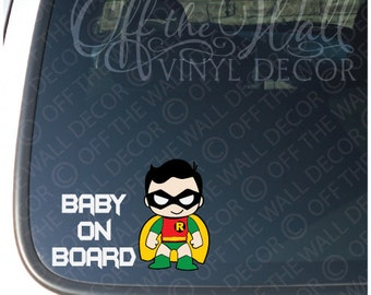 "Batman Baby Robin ""BABY ON BOARD"" Vinyl Sticker"