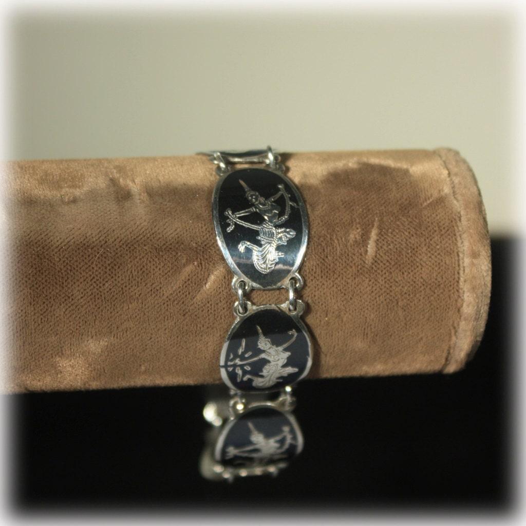 sterling bracelet black niello siam sterling link bracelet