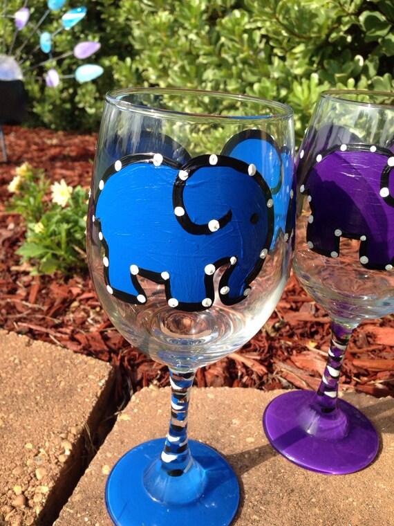 Blue Elephant Painted Wine glass