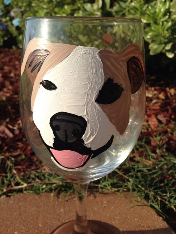 Custom painted pet wineglass, bull dog, pit bull, bulky breeds, animal lover gift