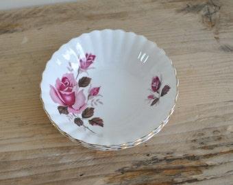 Vintage pink rose china shallow decorative bowls