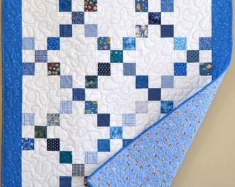 "Boy Baby Quilt, MADE TO ORDER, Crib Blanket, Blue and White Nursery Quilt, 36""x48"""