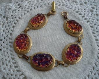 Vintage Volcano Mountaintop Glass Gold Bracelet Woodland Nature Inspired