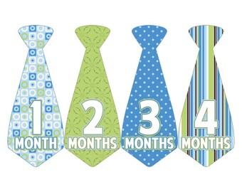 Monthly Boy Tie Stickers, Monthly Bodysuit Stickers, Monthly Stickers, Baby Month Stickers, Monthly Milestone Stickers, Green Blue (BF071)