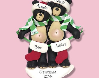 Black Bear Couple w/Stocking HANDMADE POLYMER CLAY Personalized Christmas Ornament - Limited Edition