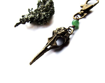 bird skull keychain - bohemian animal skull rustic keychain