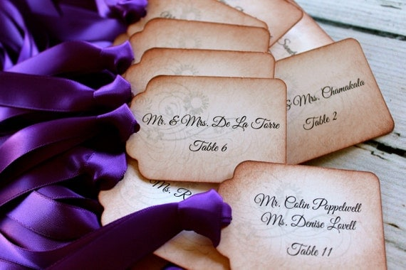 Vintage Inspired Escort Card Tags - Set of 10 - Your Choice of Ribbon Color