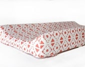 Changing pad cover CORAL TRIBAL for contoured pad - coral change mat cover - baby girl bedding- baby fitted slipcover- tribal changing cover