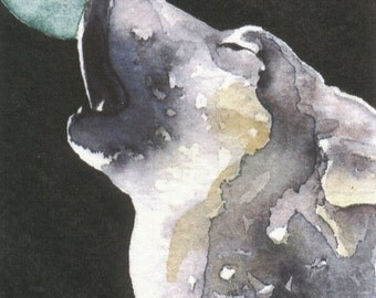HOWLING WOLF aceo watercolor PRINT spirit totem - free shipping