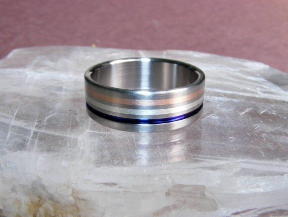 Titanium America Ring Wedding Band 14k Rose Gold Silver Blue