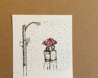 "Studio Clearout 4x4"" Rainy Day Illustration."