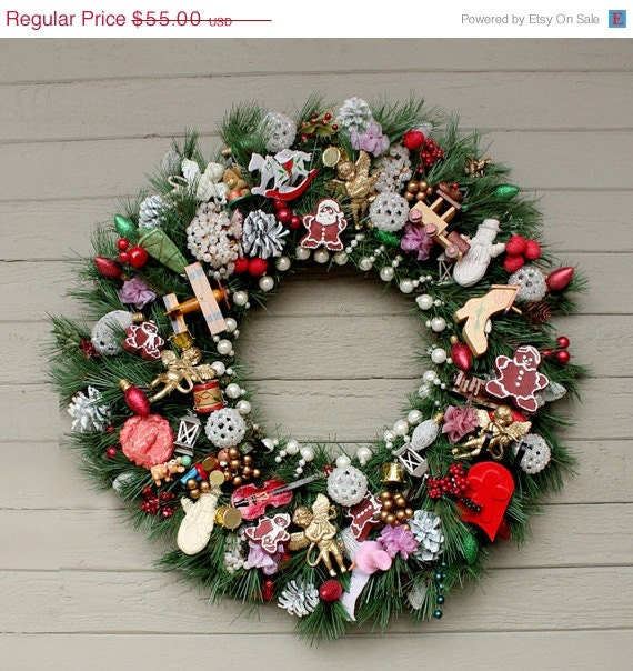 Holiday Sale Vintage Style Evergreen Wreath with Vintage Ornaments and Holiday Decor