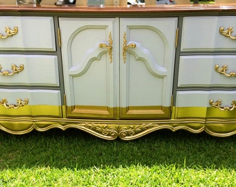 Vintage Gold and Gray Dipped French 9 Drawer Dresser