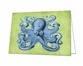 Octopus Note Card, Kracken Note Card, Kracken Thank You Card