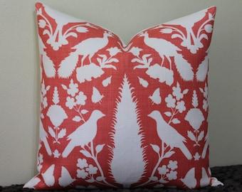 "Schumacher Chenonceau Print in Coral - 16"" - 22"" Square Sizes Decorative Designer Pillow Cover"
