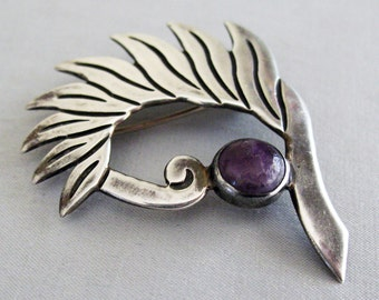 JH Taxco Mexican Sterling and Amethyst Modernist Pin