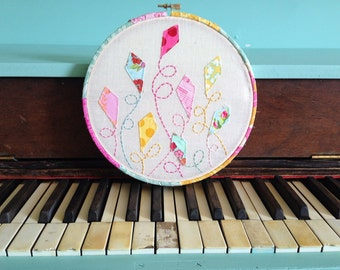 Fly a Kite - Embroidered Hoop Art - 8 inches - Ready to Ship