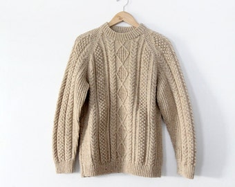 1970s wool fisherman sweater, cable knit pullover