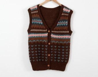 FREE SHIP  1980s alpaca knit vest, vintage cardigan sweater