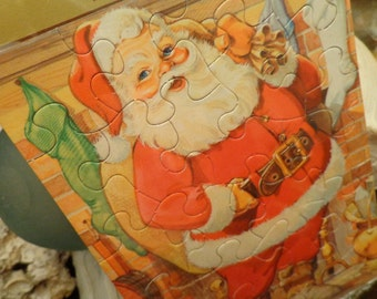 Vintage  JOLLY Santa Claus Puzzle, 5 x 7, NOS in Original Package, Hallmark Party Favor, See Ideas, with Envelope to store, MORE Available