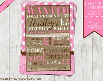 Cowgirl Cuteness - A Customizable Birthday Invitation - Cowgirl Party - Western Party