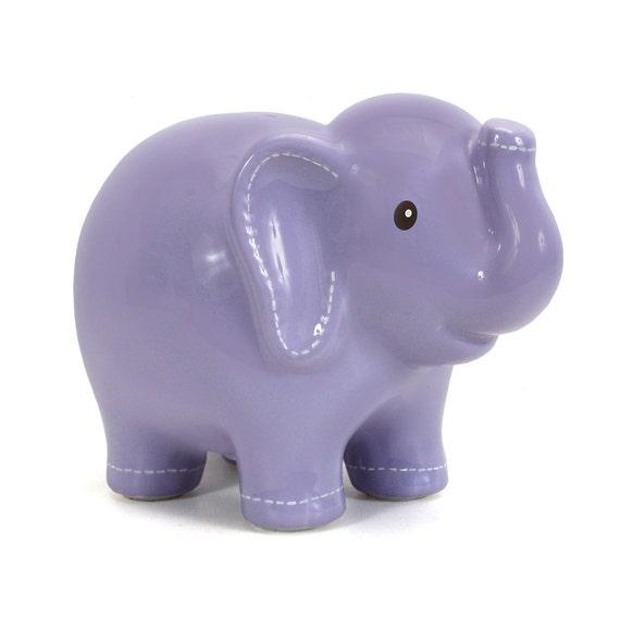 Purple large ceramic elephant piggy bank by embellishboutiquellc - Ceramic elephant piggy bank ...