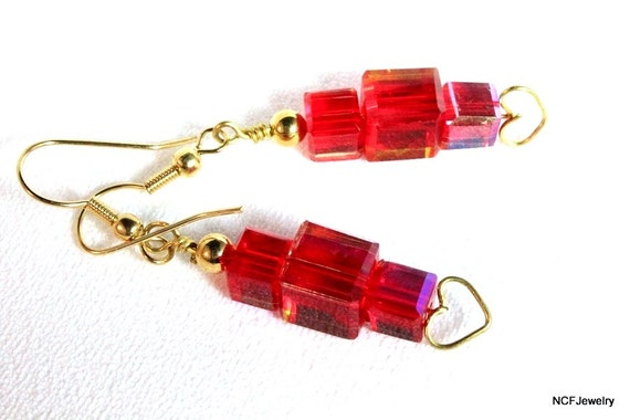 Red Crystal Cubes and Heart Earrings, Valentines
