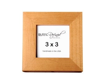 """3x3 1"""" Gallery Picture Frame - Solid Natural Alder - Free Shipping - Hand Made in USA"""