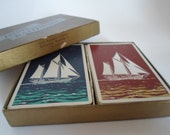 Vintage Lord Baltimore Line Finish  Playing Cards with Sailboat scene and Waves Rust and Blue 2 SETS