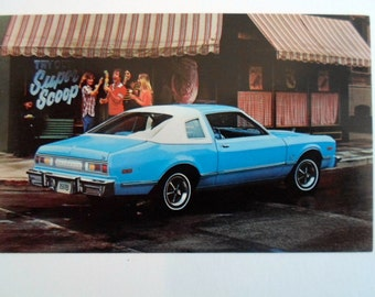 Vintage 1978  blue and white Plymouth Volarie Coupe  Car Auto Automobile  Dealer Advertising postcard