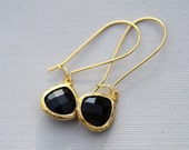Black Glass Stone Earrings,Jewelry, Gold Earrings,Diamond Earrings,Gold Earrings, Gold Faceted Earring,Wedding,Bridal, Bridesmaid Gift