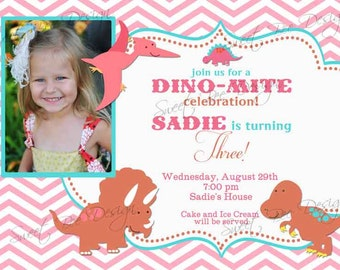Dinosaur Birthday Photo Invitation- Custom Printable