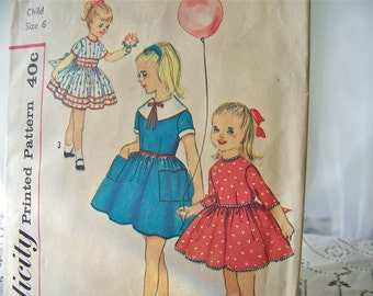 Vintage Pattern Child's Dress Size 6 Girls Dress Simplicity Pattern 3095 Vintage Sewing Room Children's Clothing 1950s