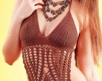 Woman Brown Crochet Monokini Pattern only with written instruction and charts in PDF files.