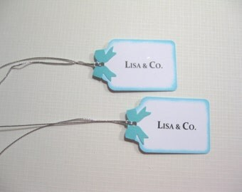 10 Personalized Favor Tags - Breakfast at Tiff... Tags - Audrey Hepburn - Aqua Blue Bridal Shower Tags - Pool Blue Baby Shower Favor Tags