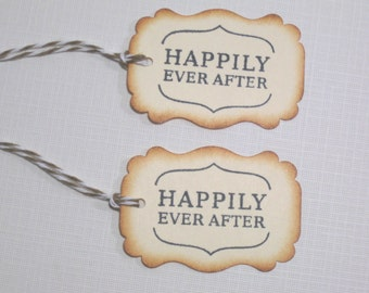 10 Happily Ever After Favor Tags - Wedding Favors -  Bridal Shower - Party Favors - Fairy Tale Wedding