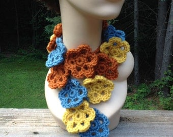 Blue and Mustard Flower Scarf