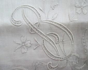 Vintage Hankie Linen Original Sticker MADEIRA Flowers Embroidered Monogram Letter B White On White