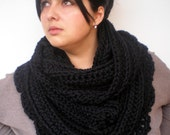 Black   Flower Infinity Circle Scarf Extralong Chunky Fashion Circle Scarf NEW