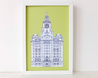 Liver Building, Liverpool, Liverpool drawing, wall art, Liverpool Print, Picture of Liverpool, Gift for Scouser