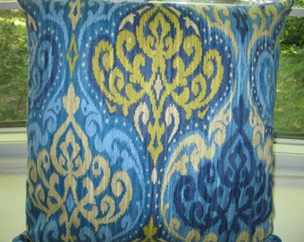 Beautiful Ikat Pattern Pillow Cover .Both Sides Blue and light yellow cushion 18x18 inches